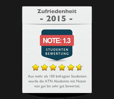 ATN Akademie - Service Umfrage 2015 Zufriedenheit Note sehr gut