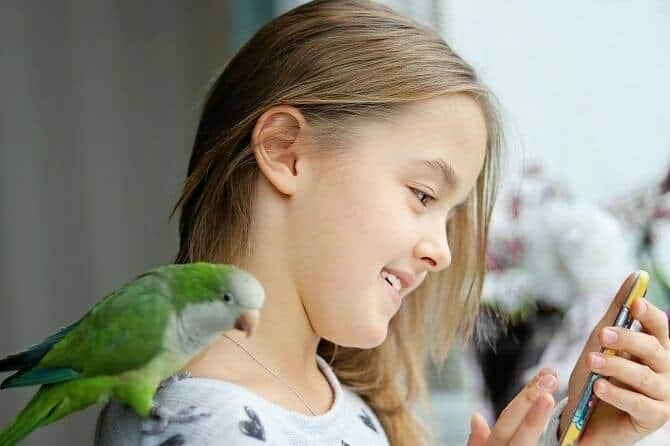 Tiergestützte Arbeit Ausbildung - lächelndes Mädchen mit Papagei auf der Schulter und Handy in der Hand