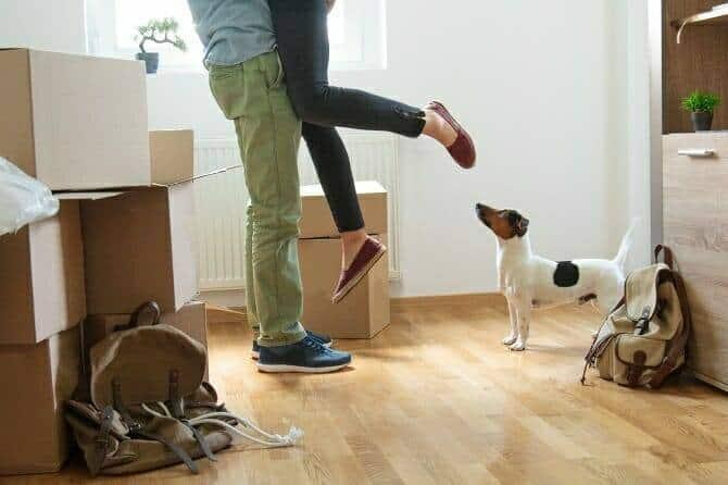 Psychologischer Coach Mensch Tier Beziehung Ausbildung - Mann hebt Frau hoch beim Einzug in neue Wohnung und Hund