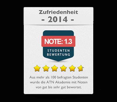 ATN Akademie - Service Umfrage 2014 Zufriedenheit Note sehr gut
