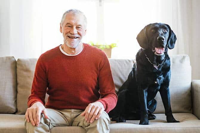 Therapiebegleithunde Trainer Ausbildung - älterer glücklicher Mann sitzt gemeinsam mit schwarzem großen Hund auf dem Sofa