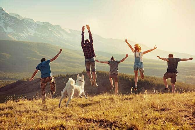 Hundetrainer Ausbildung Ablauf - Fünf Menschen und Hund im Gebirge springen vor Freude