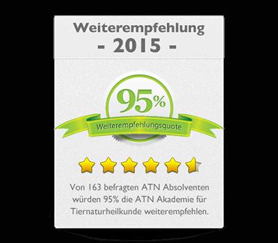 ATN Akademie - Service Umfrage 2015 Weiterempfehlung 95 Prozent