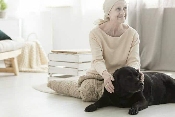 Heilpraktiker für tiergestützte Psychotherapie Ausbildung - lächelnde Frau während Therapie mit Hund
