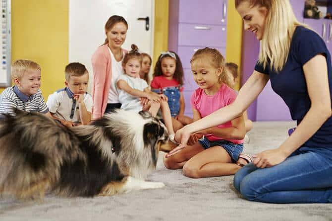 Heilpraktiker für tiergestützte Psychotherapie Ausbildung - Vorschulkinder in Gruppentherapie mit Hund