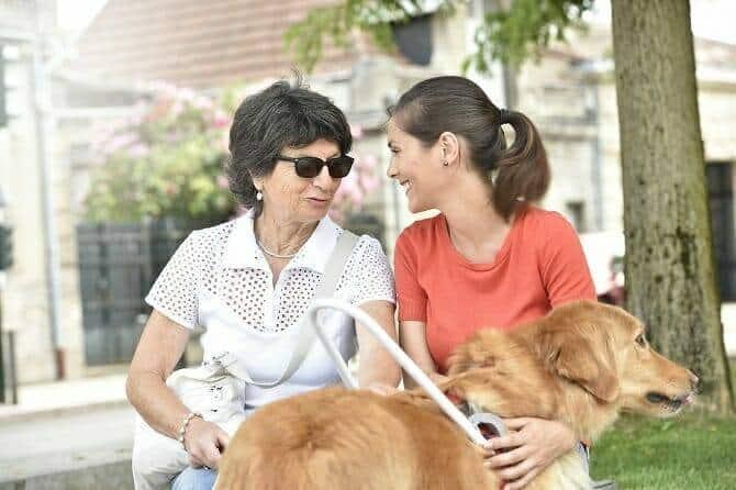 Assistenzhundetrainer Ausbildung - blinde Frau und Betreuerin auf einer Bank mit Assistenzhund