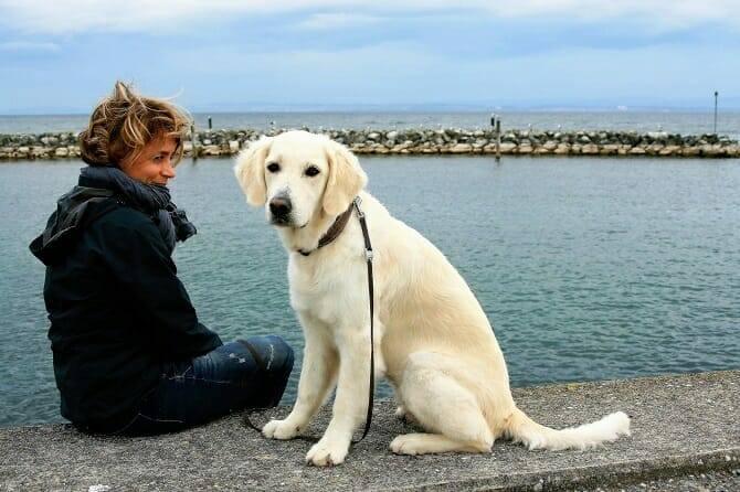 Psychologischer Coach Mensch Tier Beziehung Ausbildung - Frau mit Hund am Hafen